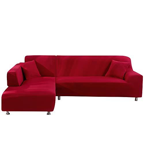 NIBESSER Sofabezug Sofaüberwürfe für L-Form Sofa elastische Stretch Sofabezug (2 Sitzer+3 Sitzer, Rot)