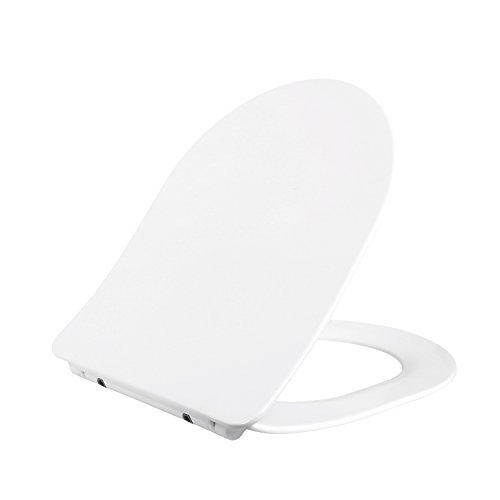 Homfa copriwater universale con chiusura ammortizzata, toilet seat sedile copri wc, bagno sedile dedicato di forma d con soft-close , bianco
