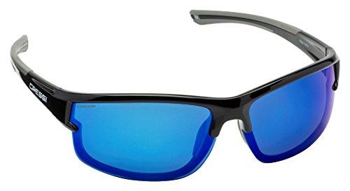 Cressi Phantom Sonnenbrille, Schwarz/Verspiegelte Gläser Blau, One Size