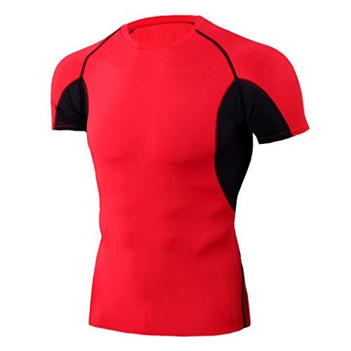 kolila Herren Sports Trainings Tops T Elastisch Atmungsaktiv Workout Fitness Kurzarm Helle Schnell trocknende T-Shirts(Rot,XL)