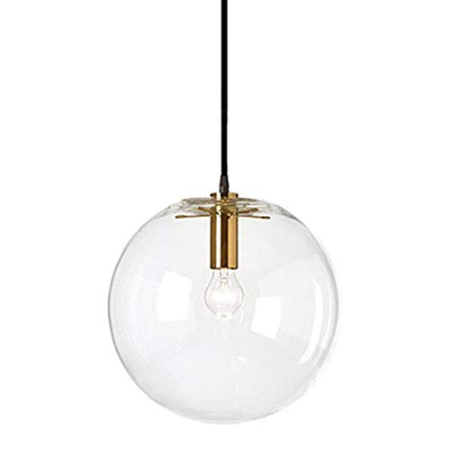 Wings of wind - Glaskugel Lampenschirm E27 Pendelleuchte Kronleuchter Transparent Droplight Hängelampe Schwarz Lampenfassung (Gold, 30cm)