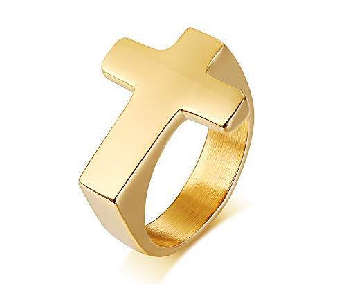 XUANPAI 18 Karat Vergoldet Edelstahl Plain Seitlich Kreuz Verlobungsring Glaube Hoffnung Signet Biker Ring für Männer Frauen, Größe 59