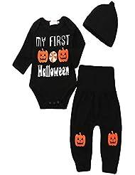 Halloween-Baby-Kleidung stellte Overall-Kürbis-Buchstabe-Druck-Spitzenhut-Hosen dreiteilige lange Hülsen-Winter-kalter Winter-warmes Geschenk ein
