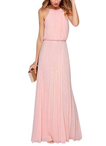 Ghope Femme Robe Long Maxi Chiffon Ete Sans Manche Plissée Uni Soirée Elegant Cocktail Rose