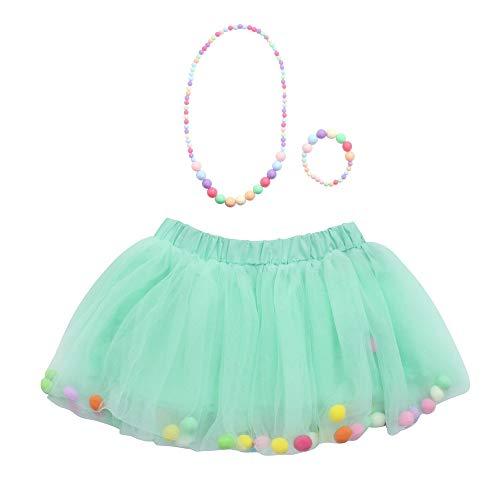Vectry Bekleidungssets Baby Mädchen Kinder Outfits Tüllrock Tutu Rock + Armband + Halskette Set(0T-10T)(Grün,0-2 Jahre)