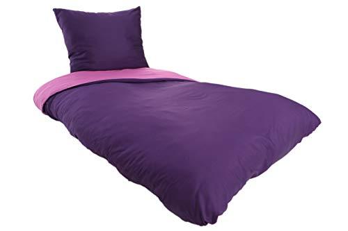 MyHoppi Mako-Satin Bettwäsche | 100% Baumwolle/Baumwollsatin | 135x200 cm + Kopfkissenbezug (Violett-Lila, 135 x 200 cm)