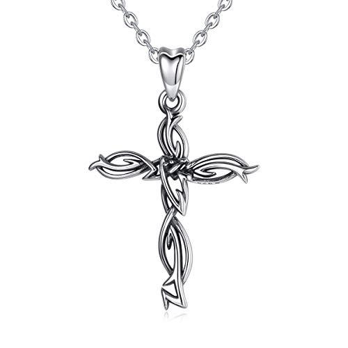 CELESTIA Keltisches Kreuz Kette Oxidiert 925 Sterling Silber Kruzifix Anhänger mit Peddigrohr, Halsketten für Frauen und Mädchen, Edler Schmuck Religiös, Geschenk Christlich
