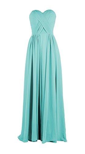 YiYaDawn Langes Brautjungfernkleid Abendkleid für Damen Mintgrün