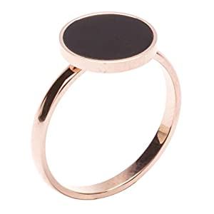 Happiness Boutique Damen Minimalist Ring mit Kreis in Schwarz | Rosegold Ring Schmuck aus Titan