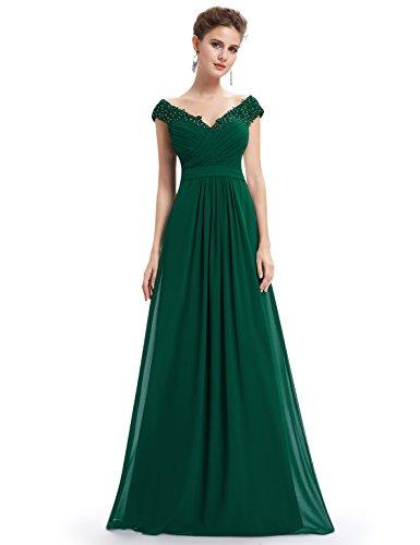 Ever Pretty Damen Elegant V-Ausschnitt Lace Gebluemt Lang Abendkleid 44 Dunkelgrün