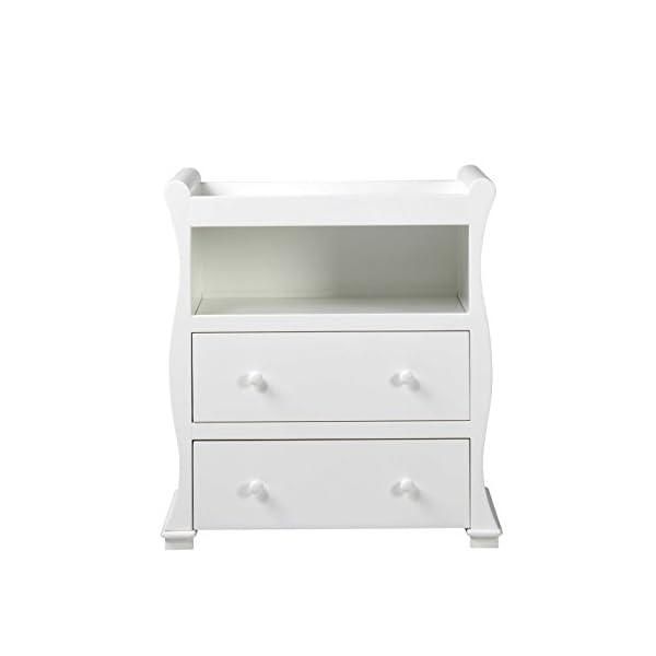 East Coast Alaska Sleigh Dresser, White East Coast Integral changing area 2 full width drawers Open shelf 1