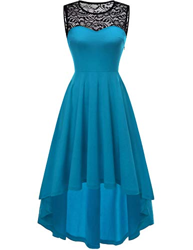 YOYAKER Damen Vintage Retro Spitzen Rundhals Ärmellos Cocktail Party Abendkleider Acid Blue L