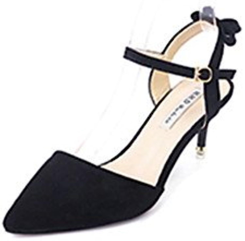 Las mujeres 039 s sandalias verano PU Confort Confort exterior amarillo negro púrpura 4A-4 3 4inBlackUS8 UE39...