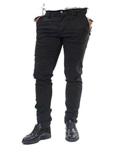 Pantalone uomo fustagno cotone caldo tasche america vari colori slim fit antony morale art.202 (50, nero)