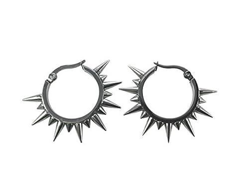 Damen Ohrringe Creolen Chirurgenstahl Edelstahl Silber mit Spikes, Geschenkbeutel Enthalten