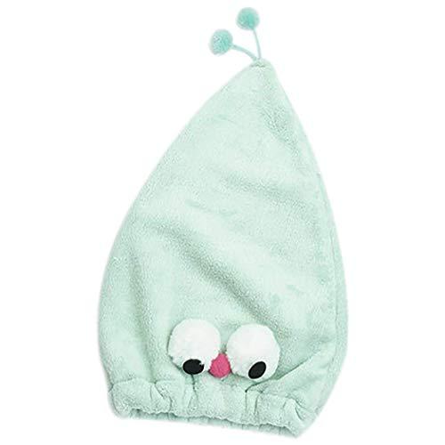 Myriad Choices Kappe für trockenes Haar Karikatur-Mikrofaser-Haar-Turban schnell trockenes Haar-Hut wickelte Handtuch-Badekappe EIN 40x24cm (Grün)