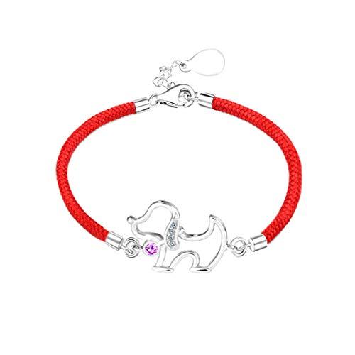 Qiyami Armband Damen Exquisite Wunderschöne Verstellbar Bling Schön Vintage Rotes Seil Hündchen Minimalist Handgefertigt (Rot, 14 Karat (585) Gelbgold) -