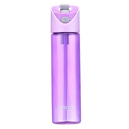 DESLON Tritan, BPA-freie Wasserflasche aus Plastik für den Sport, langer Strohhalm, tragbarer Reise-/Camping-Becher, damen, violett, 650 ml