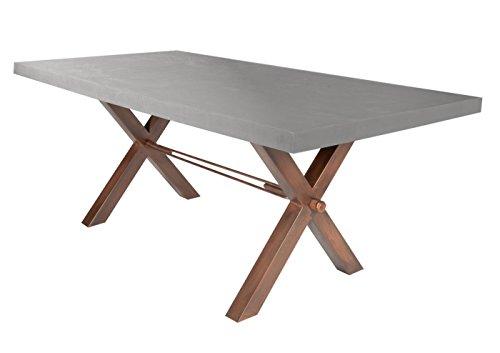 SIT-Möbel Table Basse en Panneau MDF avec Structure en Acier 220 x 100 x 79 cm et Plateau en métal Couleur émaillée et Structure en Bois Marron Vieilli 7192-13 + 7113-00 Épaisseur du Plateau 6 cm