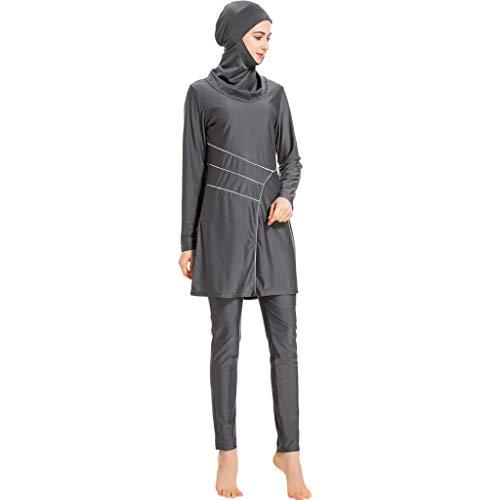 Xmansky Muslimischen Damen Bademode,Sommer Beachwear Swimwear Burkini Watersport, 1PC Badekappe + 1PC Badeanzug + 1 PC Einfarbig Lange Badehose -