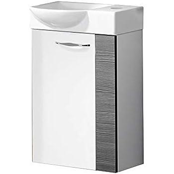 FACKELMANN Gäste WC Waschtisch Sceno, Hochglanz weiß/Pinie