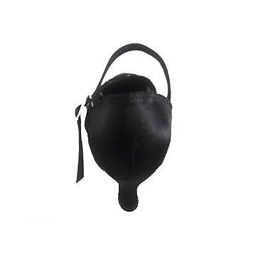 Scarpe da ballo-Personalizzabile-Da donna-Danza moderna-Tacco su misura-Raso-Nero Black