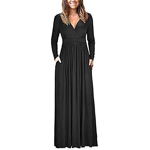MOIKA Damen Kleid Elegant Einfarbig V-Ausschnitt Abendkleider Partykleider Ballkleider Festkleider...