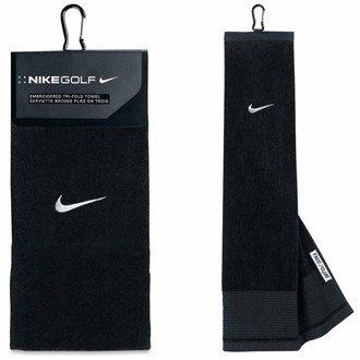 Nike Golf mit Swoosh-Logo besticktes Handtuch Schwarz/Silber