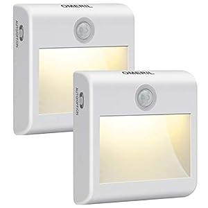 LED Nachtlicht mit Bewegungsmelder OMERIL 2 Stück Warmweiß Nachtlicht Kind, 3 Modi (Auto/ON/OFF) LED Schrankbeleuchtung…