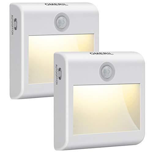 OMERIL Luz Nocturna Sensor Movimiento 2 Piezas, Luz