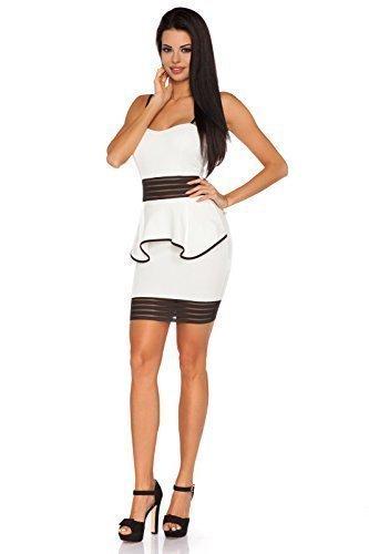 Futuro Fashion Damen Kleid Exclusive Collection Bustier Schößchen Bleistift Mini FC1641 Natur