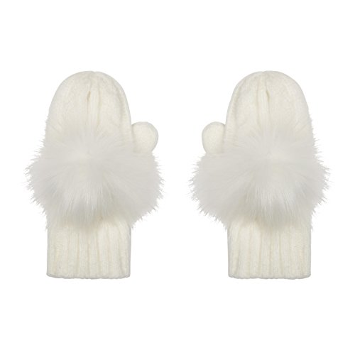 Aran Traditions Kids Cream White Cable Knit Faux Fur Pom Pom Gloves Mitts 3-6 Years - Cable Knit Mitt