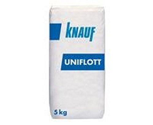 Knauf Uniflott Gipsspachtel-Masse zum Verspachteln von Gipsplatten mit HRK bzw. HRAK ohne Fugen-Deckstreifen, 5 kg - Spezial-Gips, Spachtel-Masse hochfest und schrumpfarm für Wand und Decke