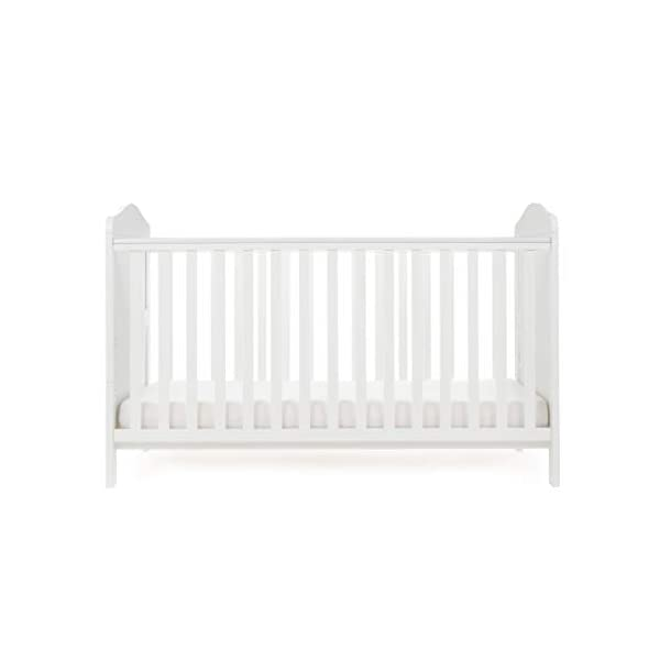 Obaby Whitby Cot Bed and Dual Core Breathable Mattress - White Obaby The Whitby features a subtle curved top with slat effect end panels Adjustable 3 position mattress height, bed ends split to transforms into toddler bed Protective teething rails along both side rails, suitable from birth to approximately 4 years 6