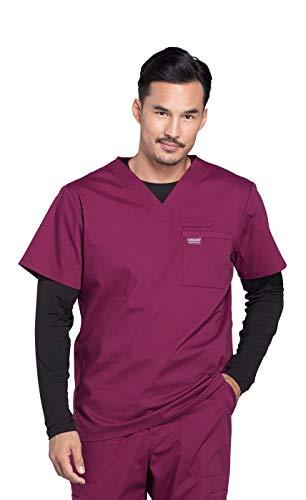 Cherokee Workwear Professionals Herren Scrub Top mit V-Ausschnitt - Rot - Groß (Scrub Top-wein Herren)