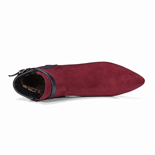 UH Chaussures Femmes Bottines à Talons Moyen Bloc de 6 CM Couleur Bout Pointu Confortables et Elegantes pour Journee Bordeaux