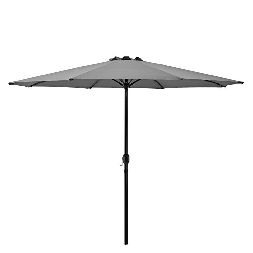 [casa.pro] parasol (Ø300cm)(gris)(aluminium) manivelle / parasol / parasol de marché / parasol de jardin / jardin