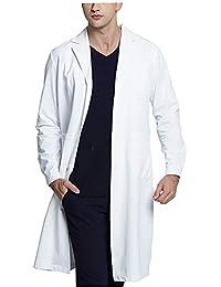 WWOO Hombre Bata de Laboratorio Blanco Bata de Médico Uniforme Sanitario Ropa de Trabajo Actualización de