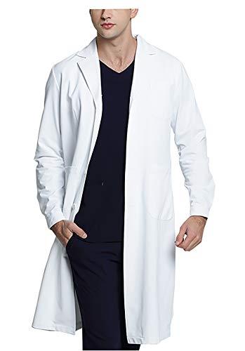 WWOO Laborkittel Herren Baumwolle weiß Arztkittel Arbeitskleidung Medizin kittel Weiss Fabric-Aktualisierung Dicke M -