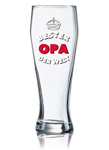 PorcelainSite Geschenkideen GmbH Lustiges Bierglas Weizenbierglas Bayern 0,5L - Dekor: Bester Opa der Welt