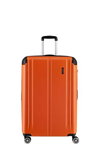 """Travelite Leicht, flexibel, sicher: \""""City\""""-Hartschalenkoffer für Urlaub und Business (auch mit Vortasche) Koffer, 68 cm, 78 Liter, Orange"""