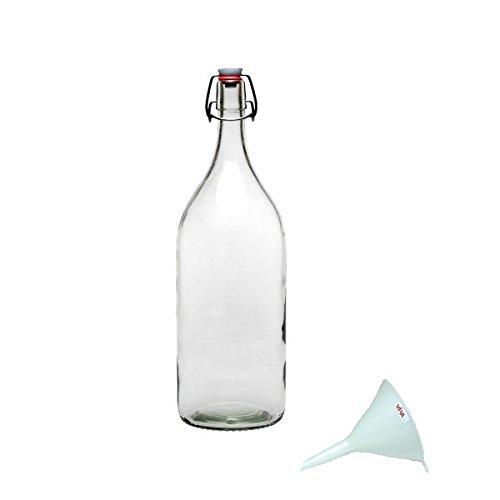 Viva-Haushaltswaren - 1 XXL Glasflasche 2 L mit Bügelverschluss für zum Selbstbefüllen inklusive einem weißen Einfülltrichter Durchmesser 12 cm