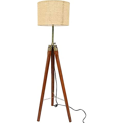 Paradise Nauticals Modern Designed Jute Fabric with Khadi Shade Wooden Italian Crafter Decorative Antique Tripod Standing Floor Lamp (Brown)