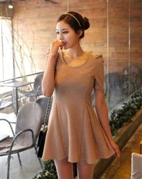 solid-round-neck-short-puff-sleeve-thigh-length-ruffle-cotton-womens-dresses