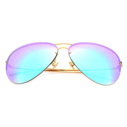 Yiph-Sunglass Sonnenbrillen Mode Polarisierte Linse UV 400 UV Metallrahmen Fallenlassen Angeln Herren Damen Sonnenbrille (Farbe : Gold Frame/Green Lens)