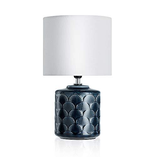 Pauleen Glowing Midnight Tischleuchte max. 20W Tischlampe für E14 Lampen Nachttischlampe Blau Weiß 230V Keramik/Stoff ohne Leuchtmittel 48021