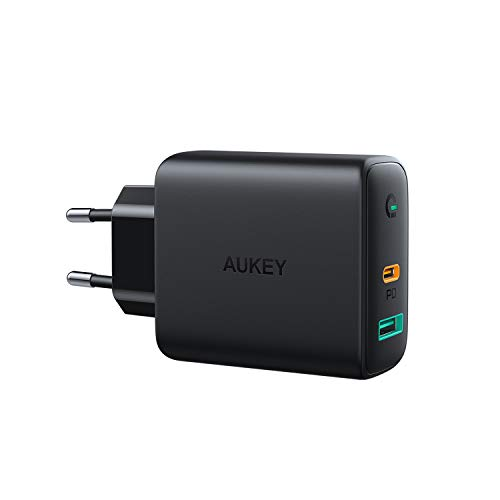 AUKEY USB C Cargador de Red con Dynamic Detect, 30W Cargador Móvil con Power Delivery 3.0 para iPhone XS/XS MAX/XR, Samsung Galaxy S10 / Note9, Pixel 3 / 3XL, MacBook Air, Nintendo Switch y más