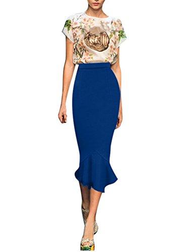 Fordestiny Damen Kleid 1967er Zwei Stile Retro Polka Dots Hahnentritt Muster Party Fishtail Rock