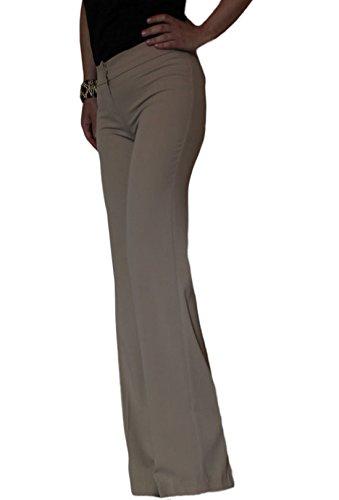 Artigli pantaloni donna eleganti palazzo morbidi begie taglia 40 42 46 48, beige, 48