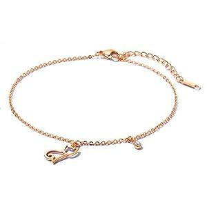 Aszhdfihas Strand Fußkettchen Kette Einfache und süße Katze Fußkettchen hohlen Titan Stahl Rose Gold Fuß Hochzeitsdekoration